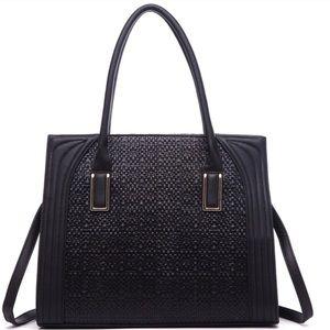 Haylie Large Black Woven Crossbody Handbag